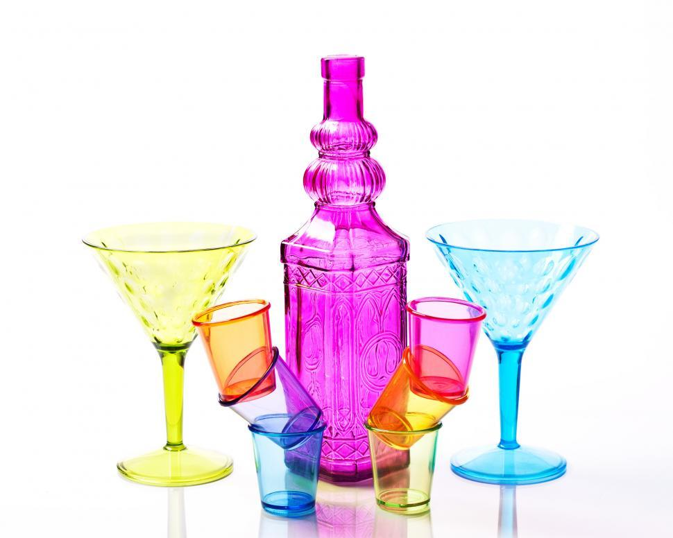 Download Free Stock Photo of Colored Drink Glasses