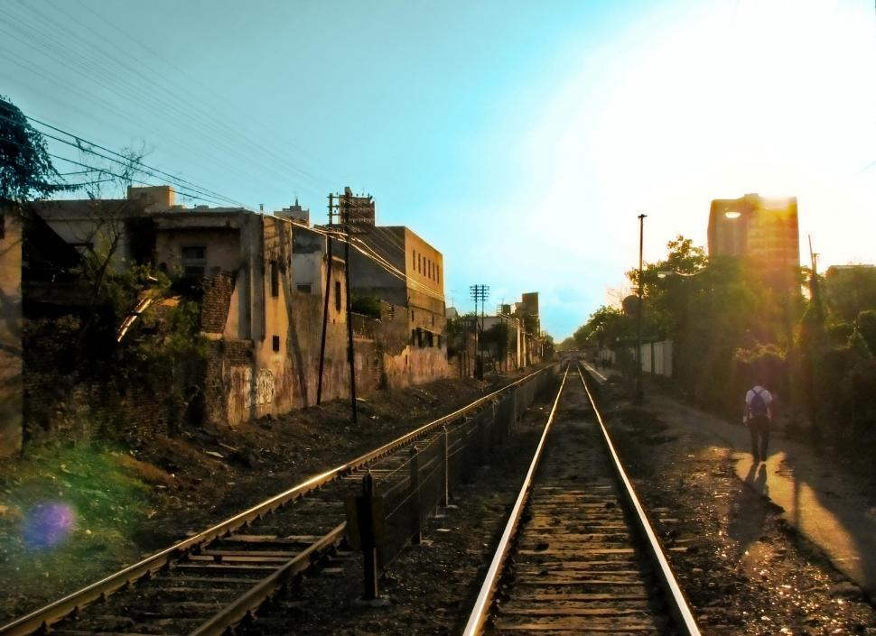 Download Free Stock Photo of Sunset Railway