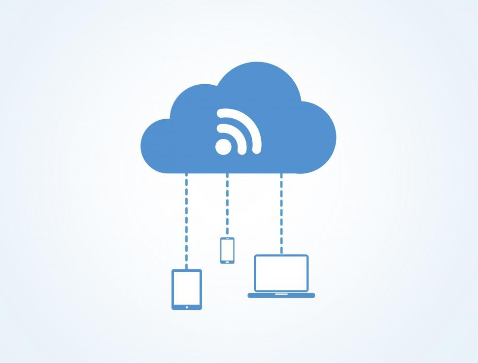 Download Free Stock Photo of Devices connected to the digital cloud - Blue version