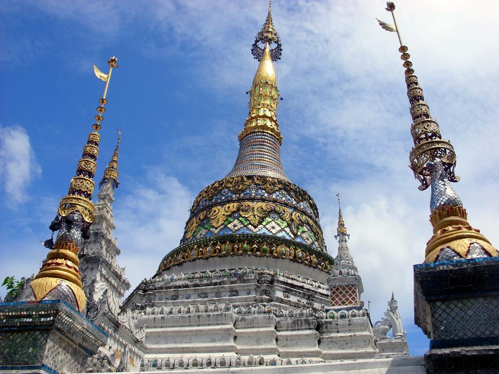 Download Free Stock HD Photo of Pagodas of Wat San Faen, Thai Buddhist Temple Online