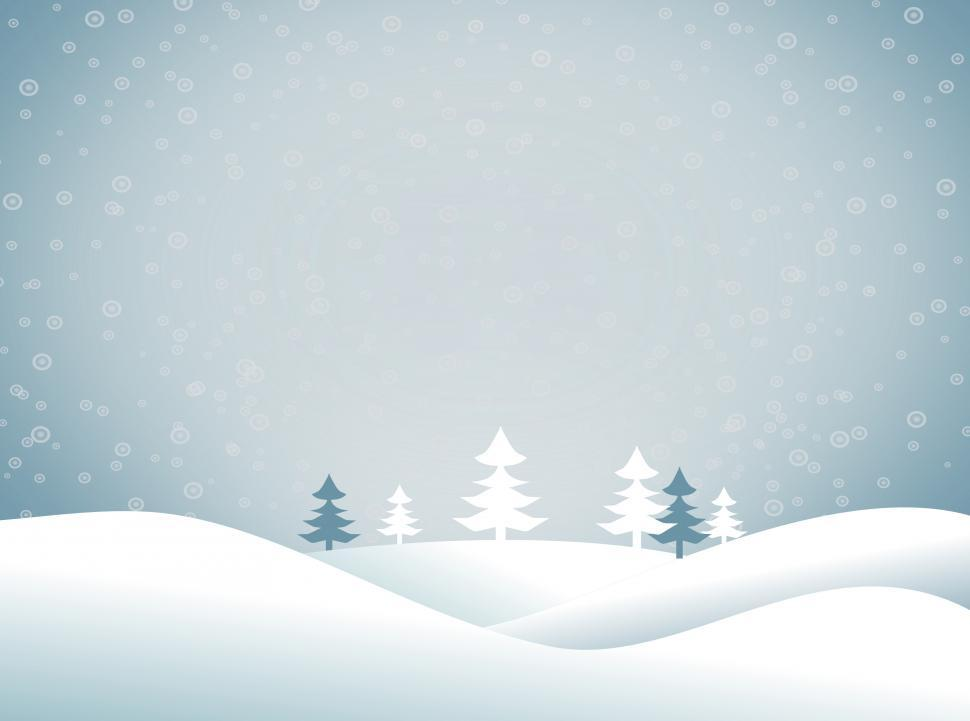 Download Free Stock Photo of Christmas snowy landscape - Xmas postcard with copyspace - Blue