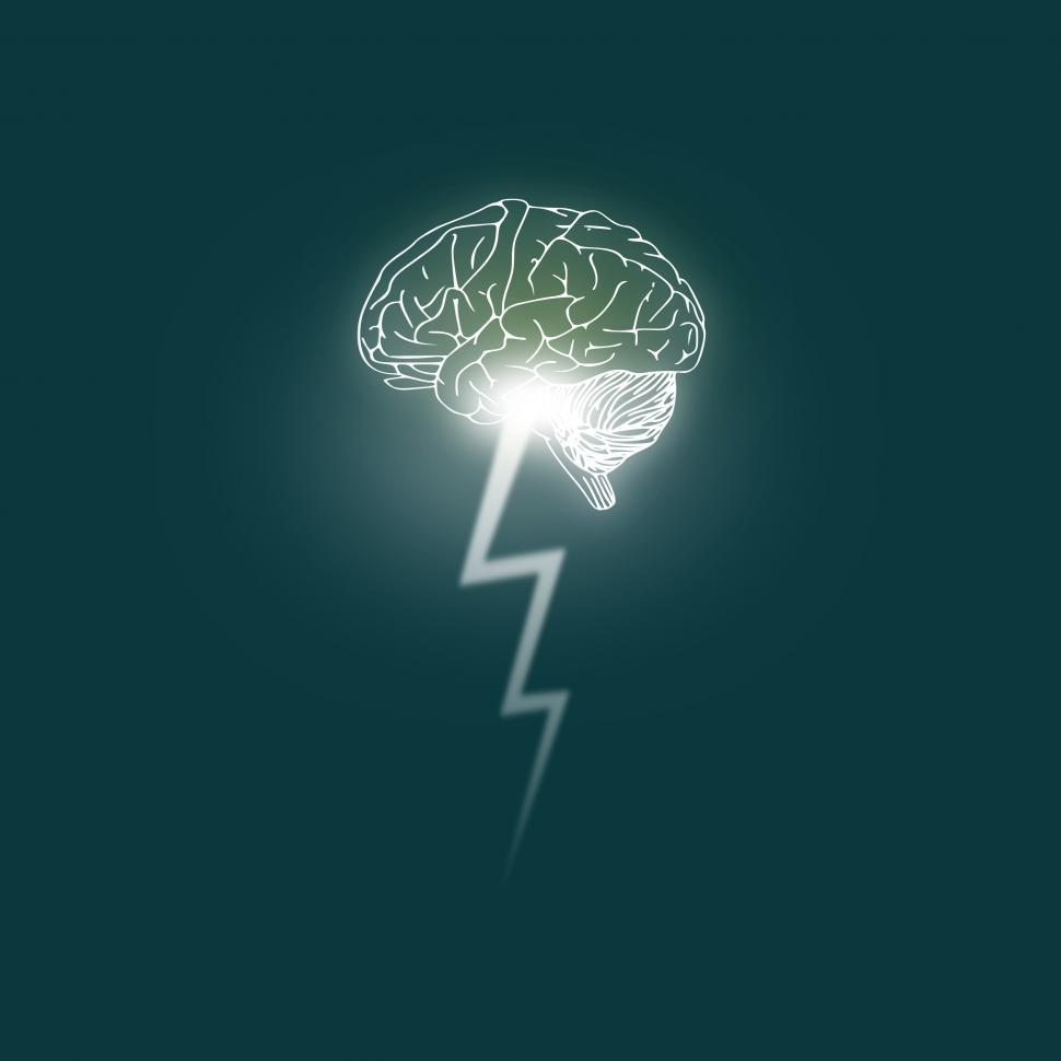 Download Free Stock Photo of Brainstorming - Brain unleashes a lightning bolt