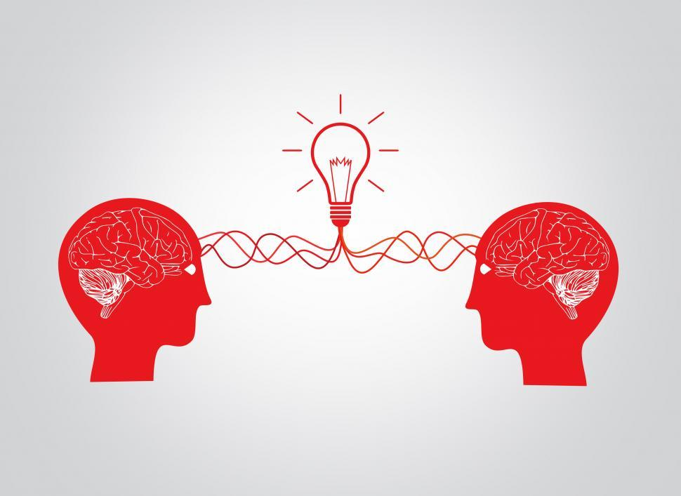 Download Free Stock HD Photo of On the same wavelenght - Two brains having an idea - Version 3 Online