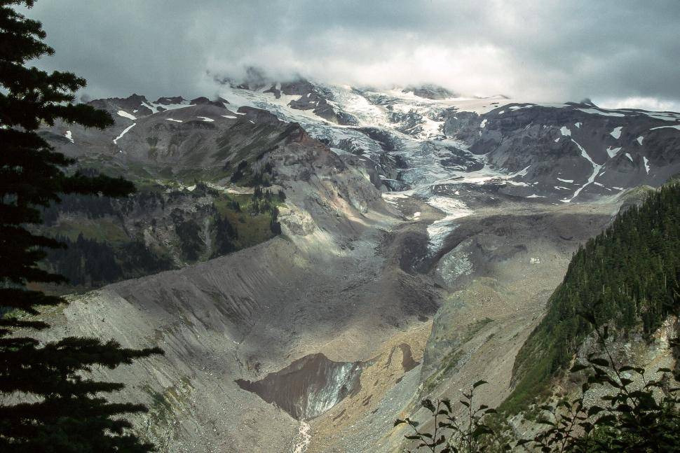 Download Free Stock HD Photo of Glacier receding - Nisqually Glacier at Mount Rainier Online