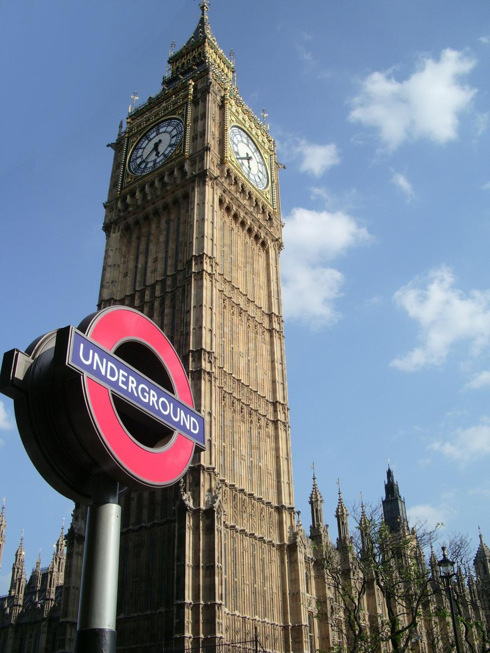 Download Free Stock HD Photo of Underground tube sign near the Big Ben in London Online