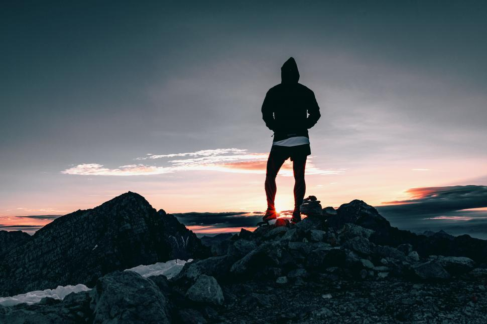 Download Free Stock Photo of  sky,  man,  silhouette,  male,  outdoor,  people,  person,  mountain,  happy,  outdoors,  freedom