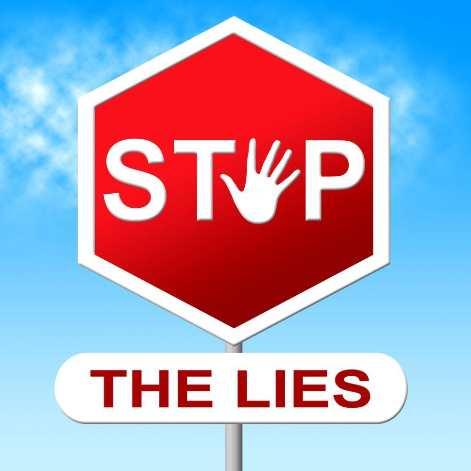 Download Free Stock Photo of Lies Stop Represents No Lying And Deceit