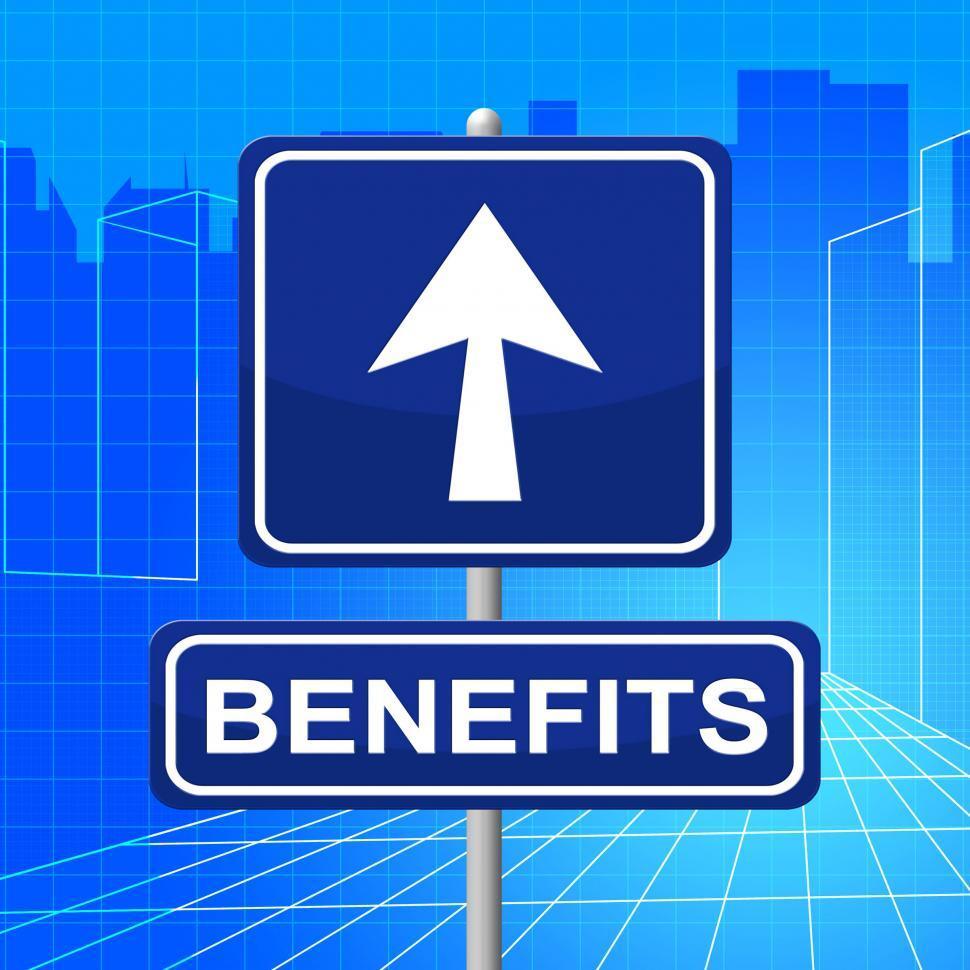 Download Free Stock HD Photo of Benefits Sign Represents Display Bonus And Rewards Online