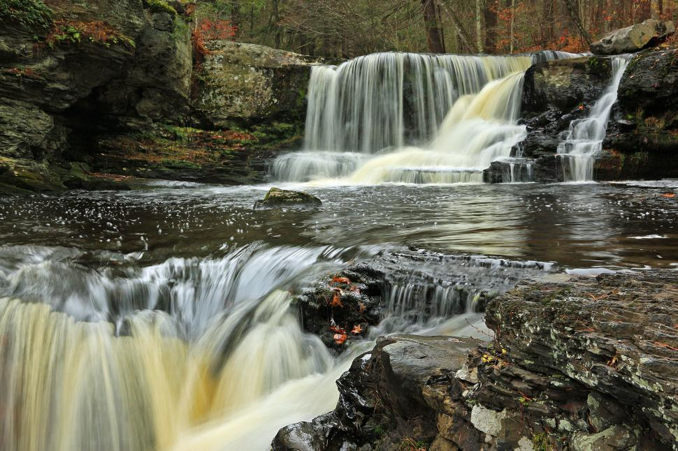 Download Free Stock Photo of Tiered Factory Falls at George W. Childs Recreation Site. Dingmans Ferr