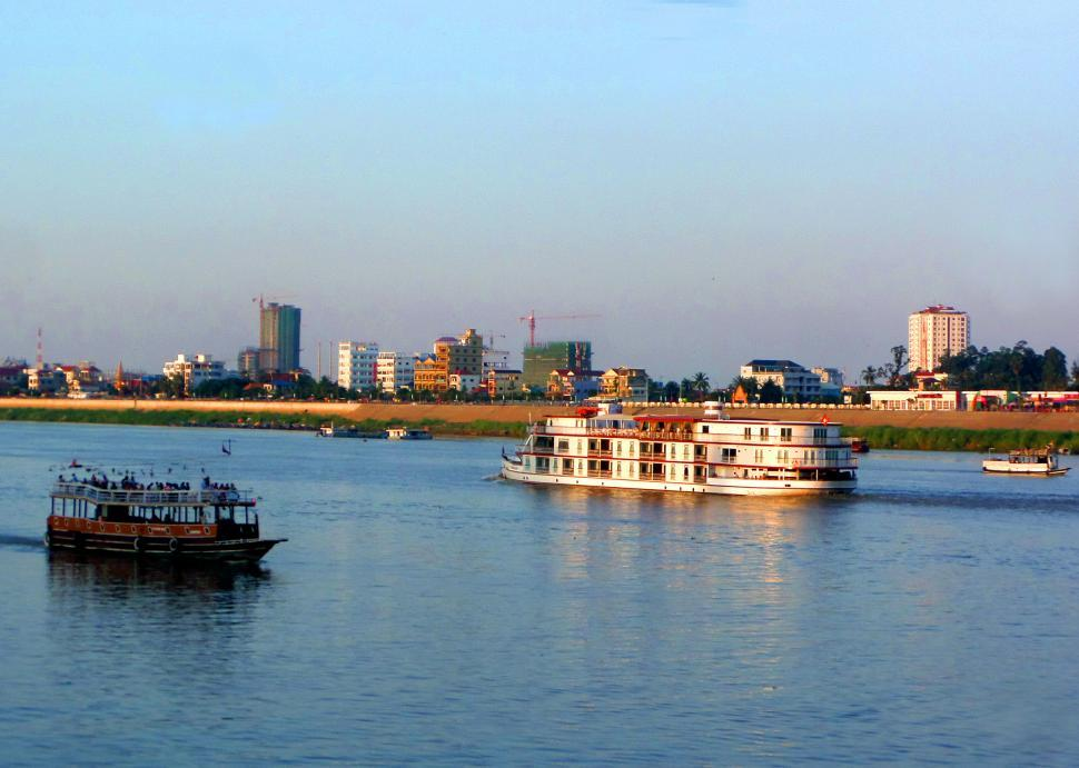 Download Free Stock Photo of Boats on the Tonle Sap - Mekong River