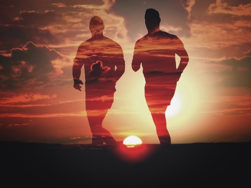 Download Free Stock Photo of Men Running at Sunset - Double Exposure Effect