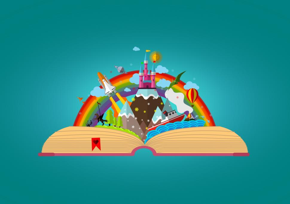 Download Free Stock HD Photo of Story Book - Colorful Childhood Imagination Concept Online