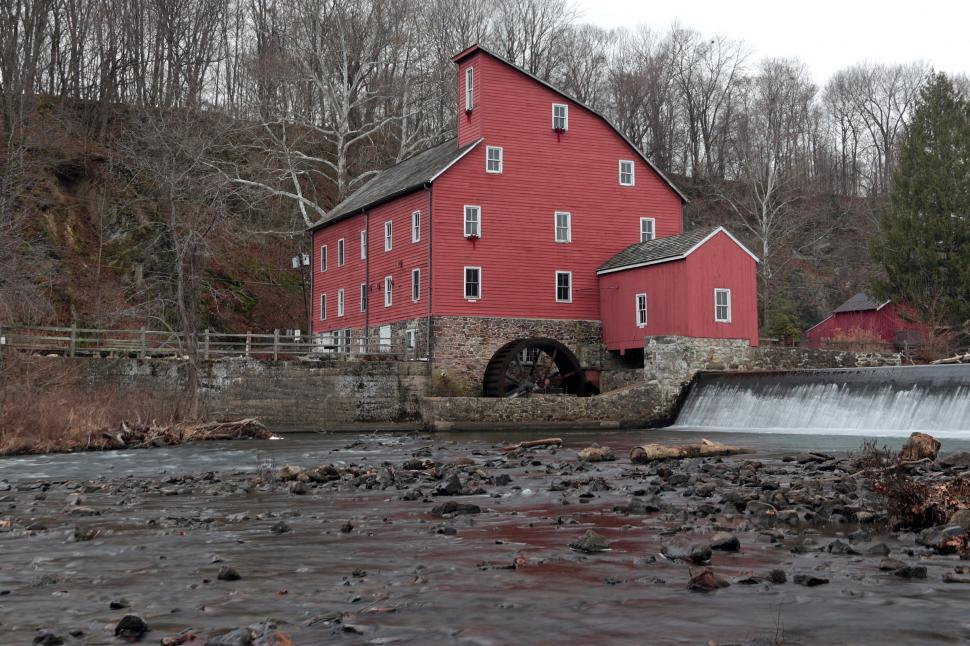 Download Free Stock Photo of Red Mill Clinton NJ