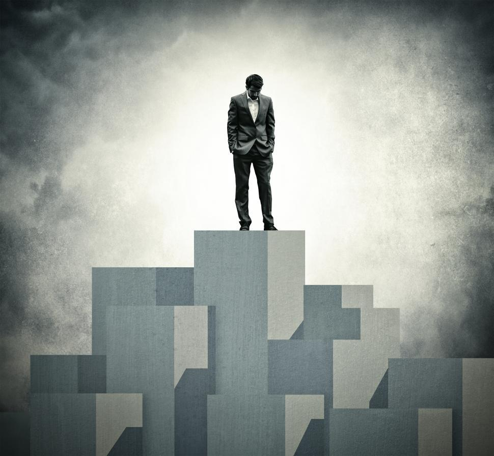 Download Free Stock Photo of Lonely at the Top - Lone Businessman at the Top
