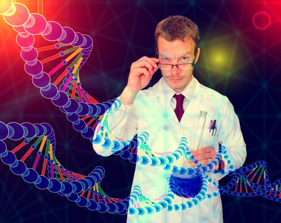 Download Free Stock Photo of Medical Doctor Performing DNA Analysis and Sequencing - Illustra