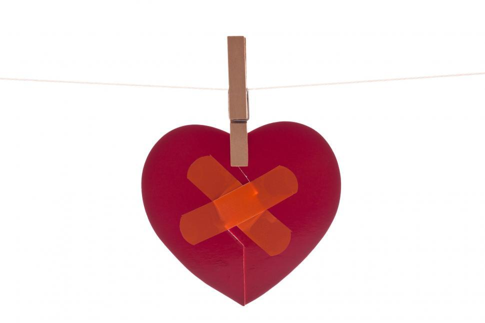 Download Free Stock HD Photo of Heart with Band Aid Online