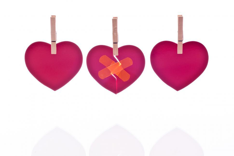 Download Free Stock Photo of Heart with Band Aid and Reflection