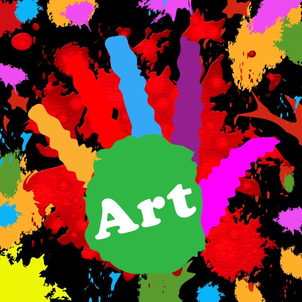 Download Free Stock Photo of Art Handprint Represents Colourful Youngsters And Colour