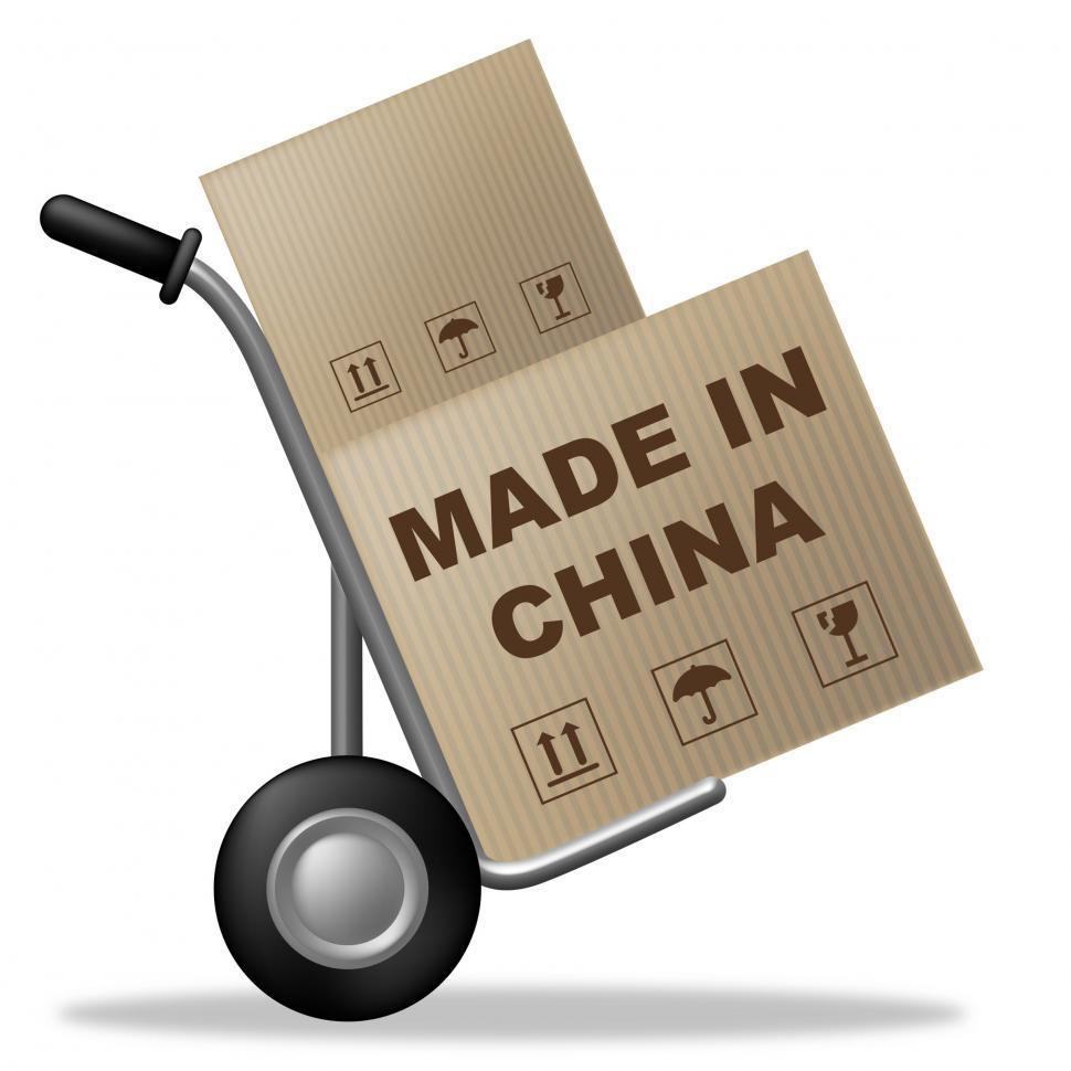Download Free Stock Photo of Made In China Shows Shipping Box And Asia