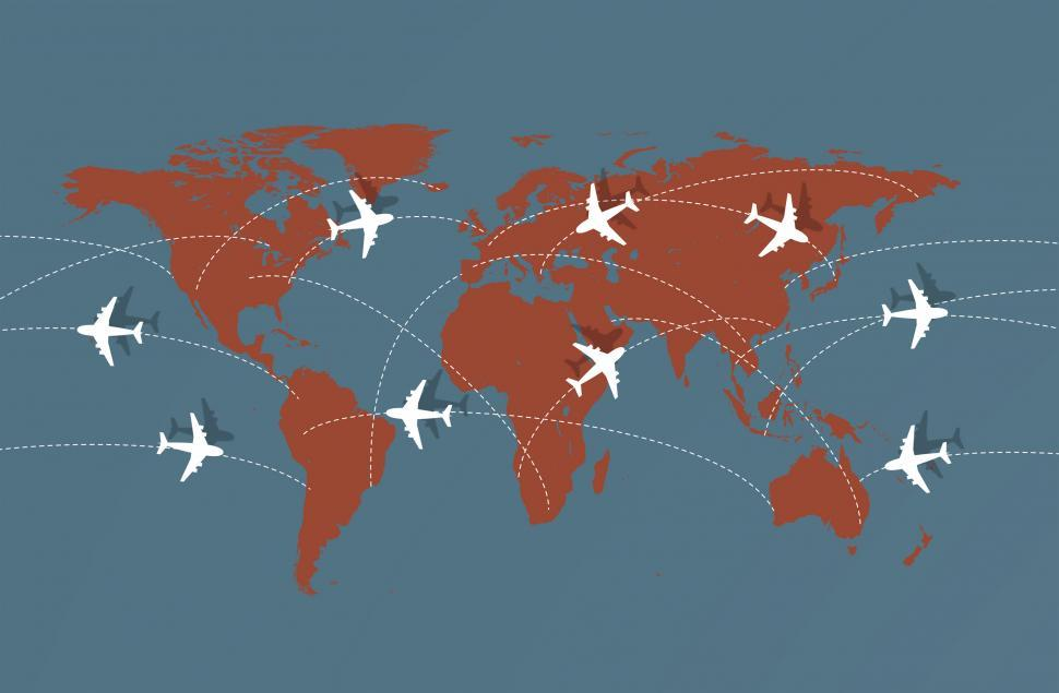 Download Free Stock Photo of Flying Across The Globe - Air Travel Illustration