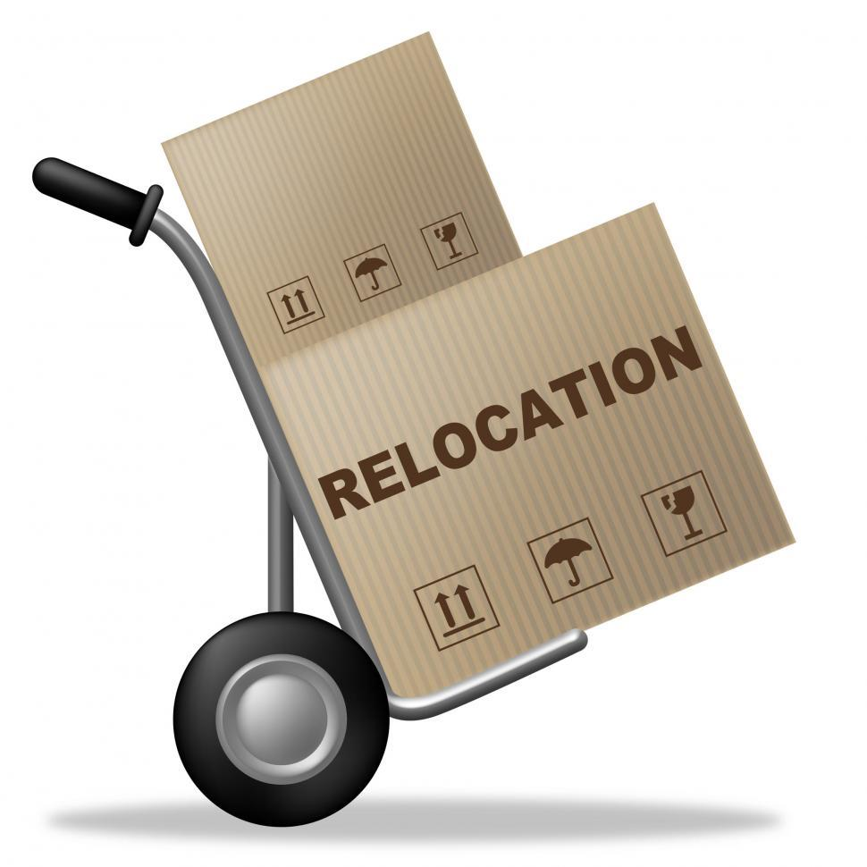 Download Free Stock Photo of Relocation Package Means Change Of Residence And Carton