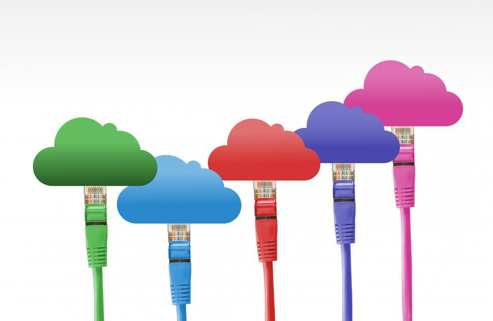 Download Free Stock Photo of Network Cables Connected to the Digital Cloud