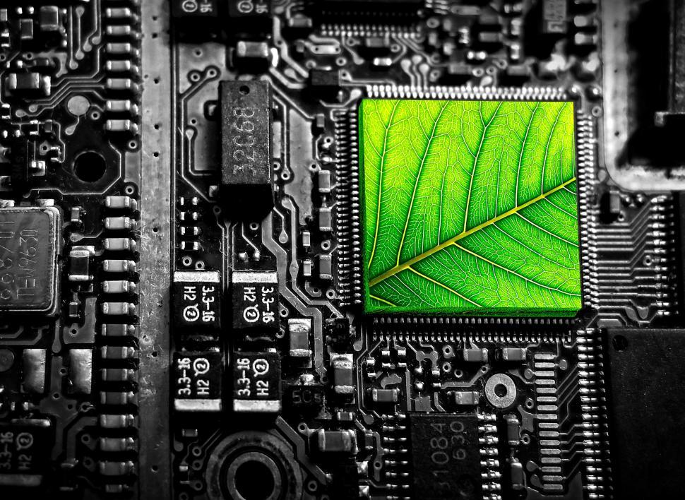 Download Free Stock Photo of Electronic Circuit with Green Leaf - Green Technology