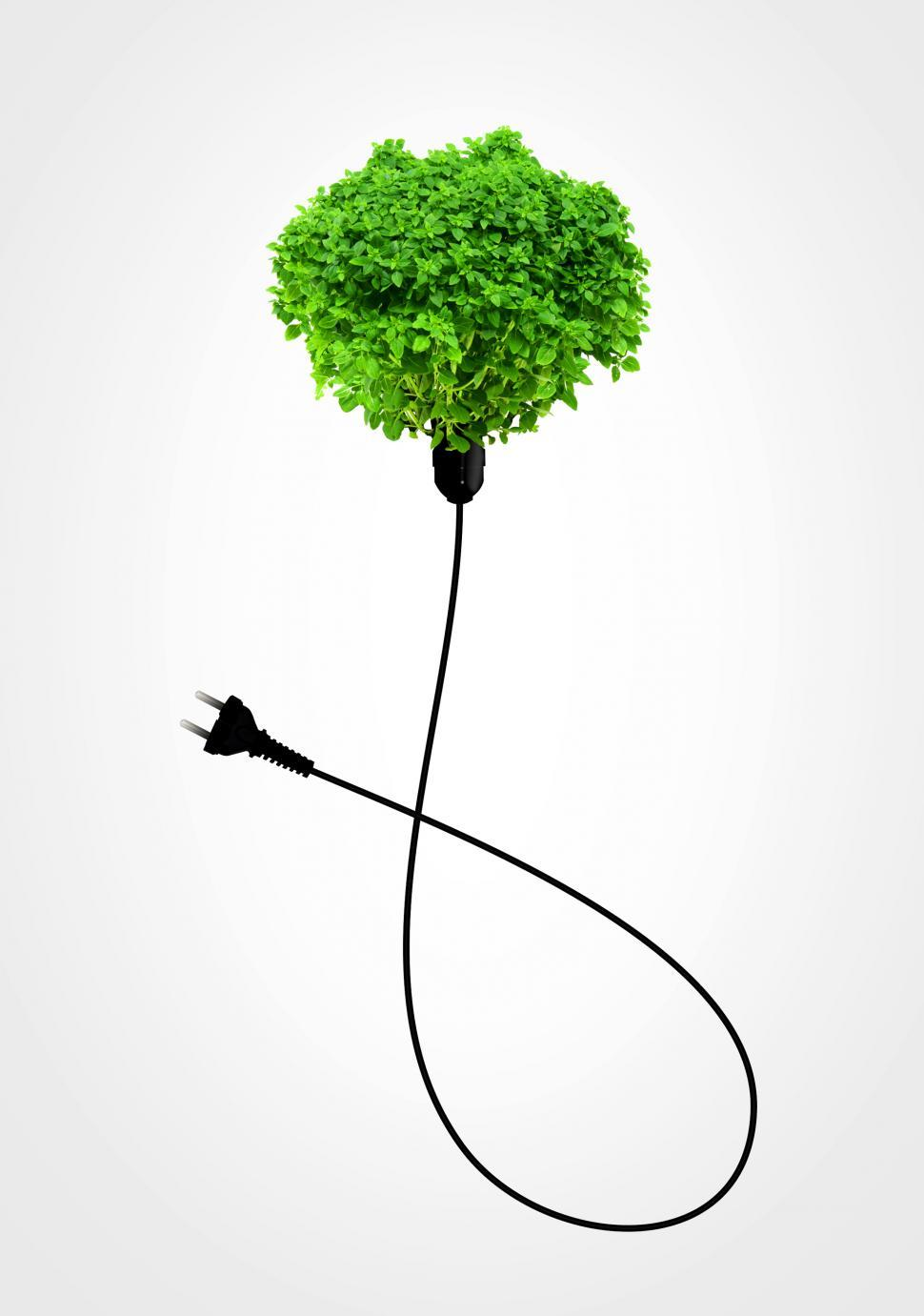 Download Free Stock Photo of Clean Energy Concept - A Green Power Plug on White