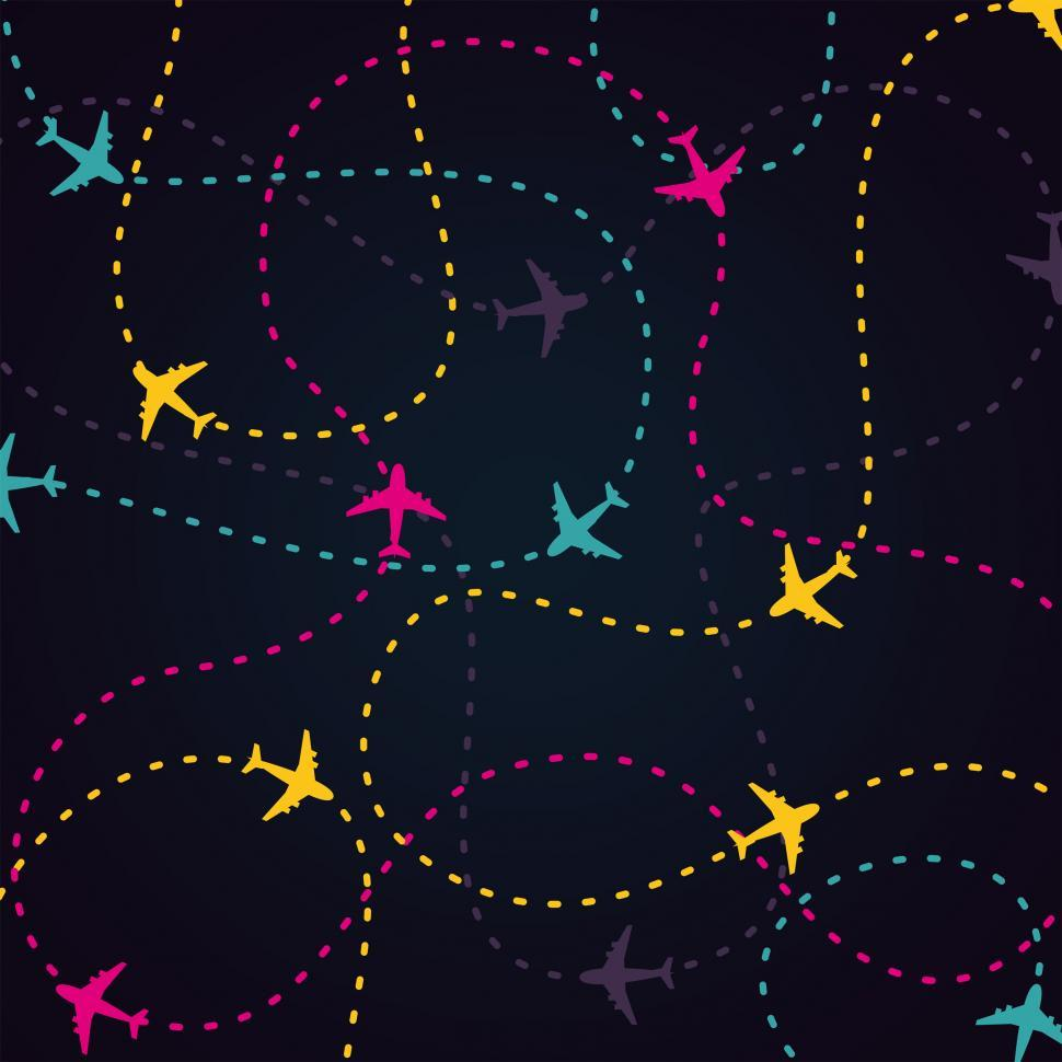 Download Free Stock Photo of Air Travel - Little Planes and Their Routes