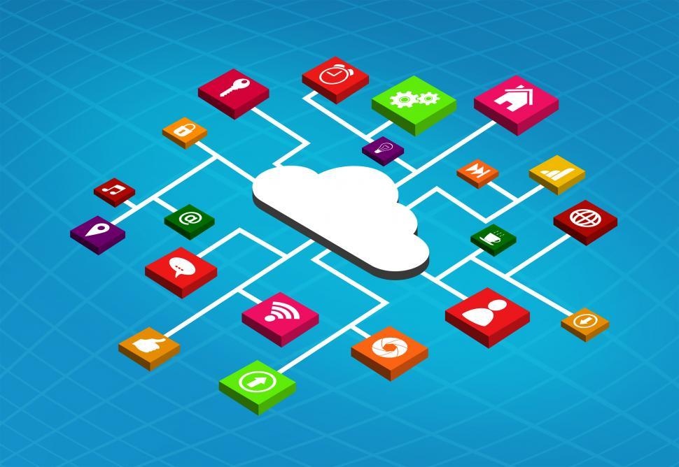 Download Free Stock HD Photo of Apps Running in the Cloud Online