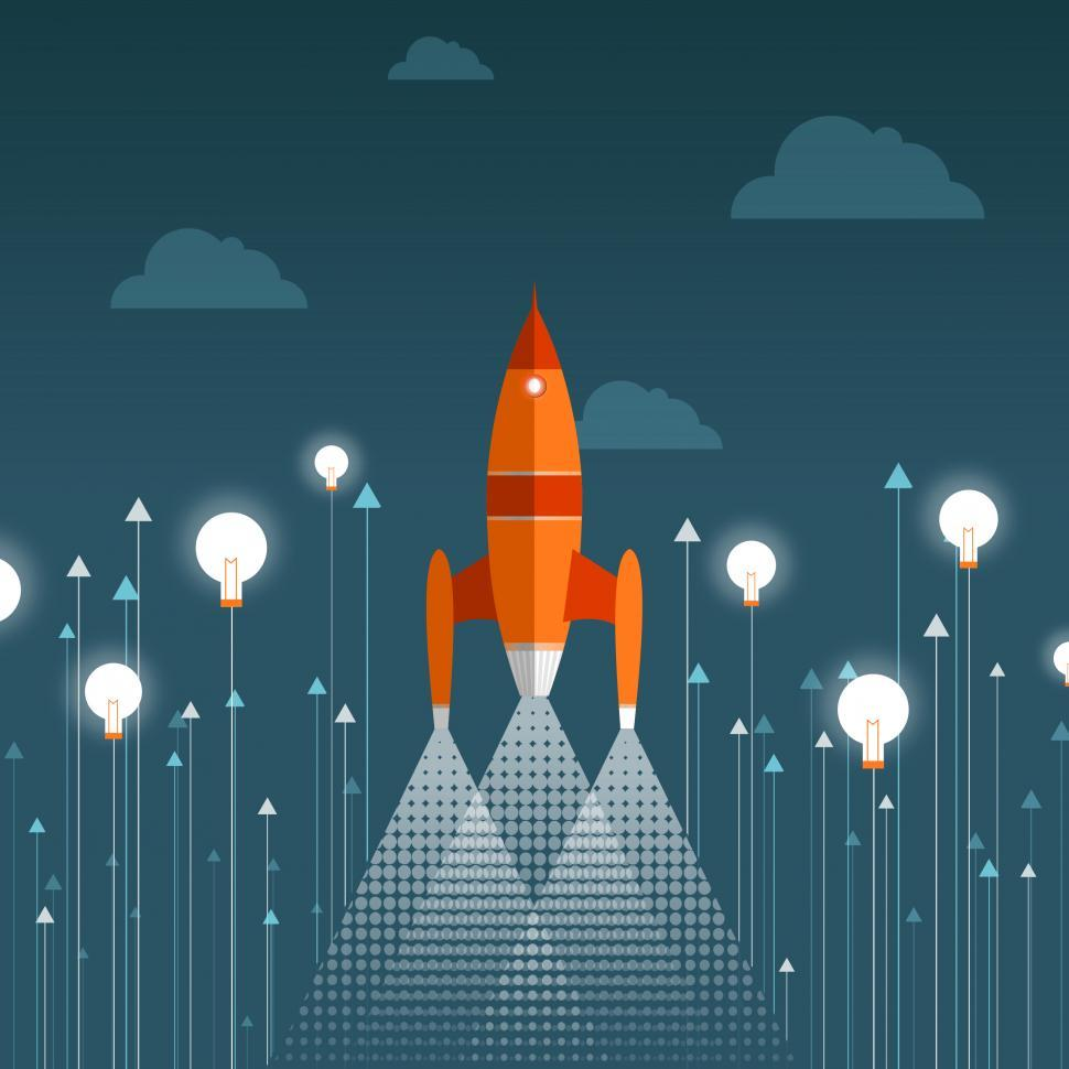 Download Free Stock Photo of Rocket Taking Off - Start-up Concept