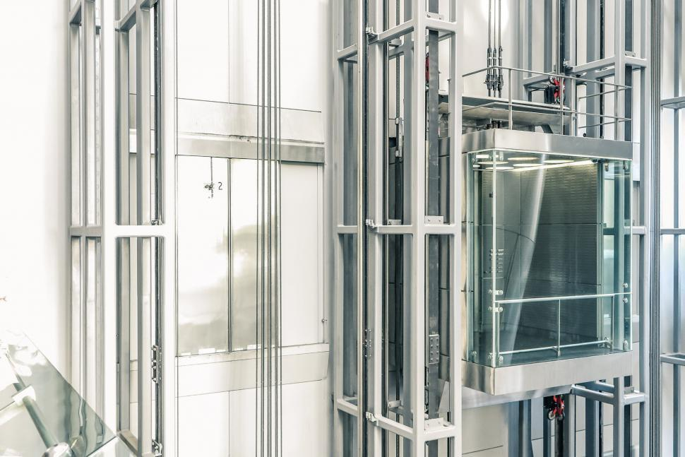 Download Free Stock Photo of Exposed glass elevator