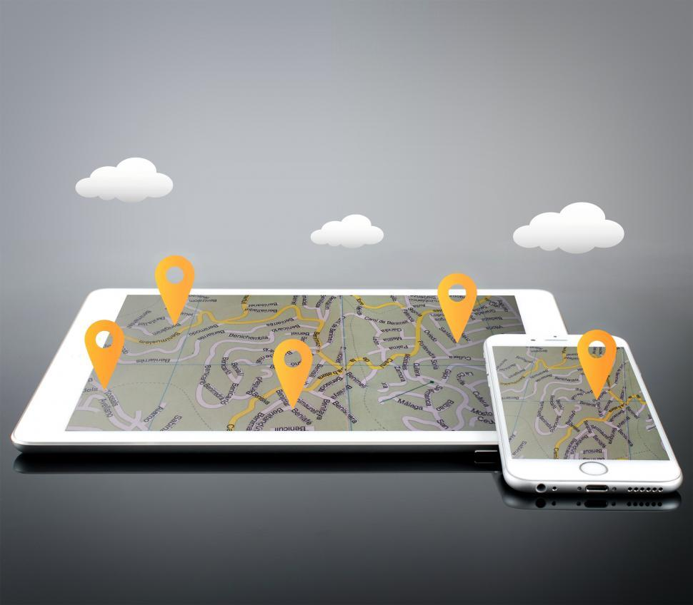 Download Free Stock Photo of Location Markers on Devices - GPS and Navigation