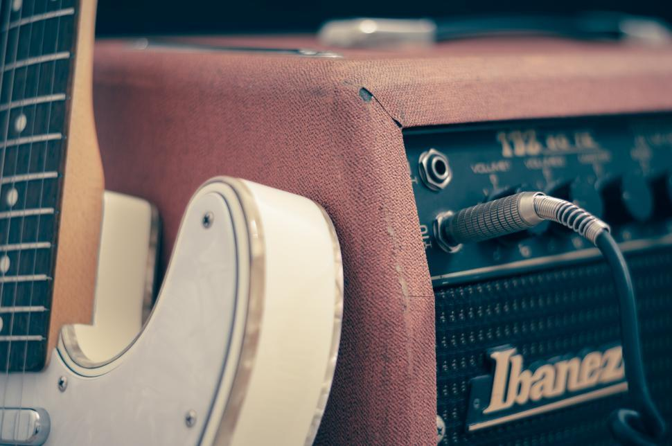 Download Free Stock HD Photo of Electric guitar plugged in Online