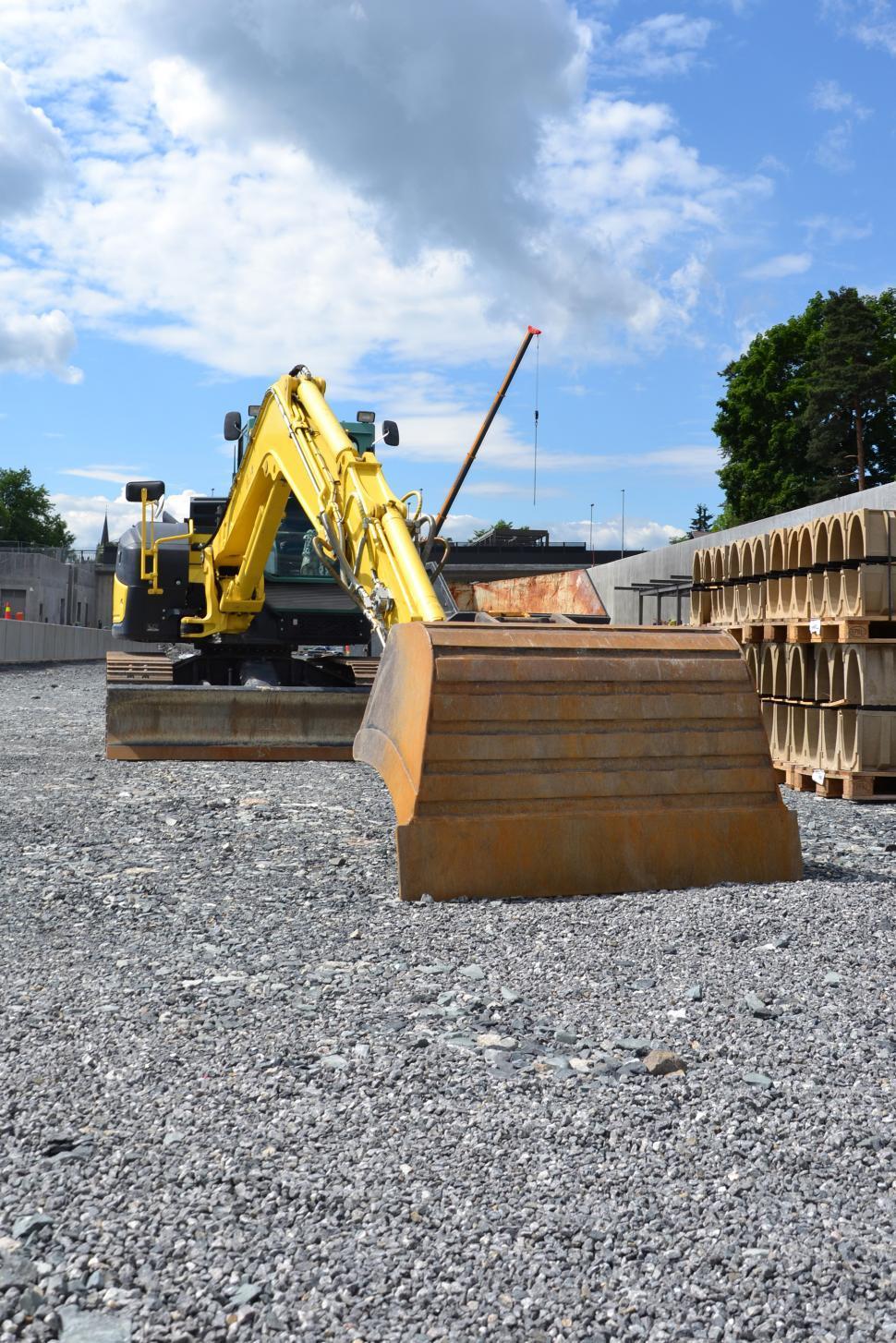 Download Free Stock HD Photo of Yellow excavator  Online