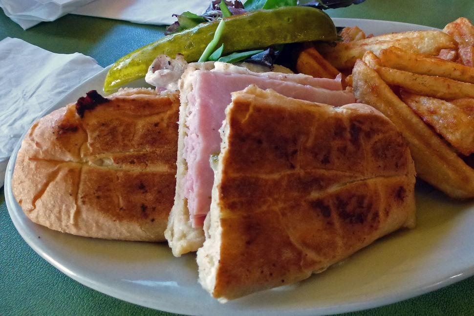 Download Free Stock Photo of Cuban Sandwich with Fries and Pickle