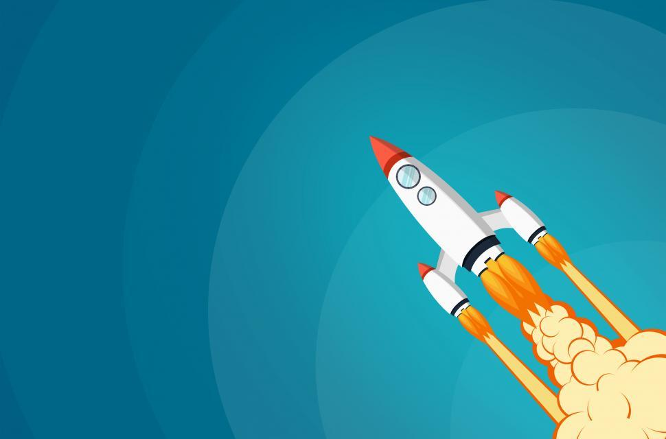 Download Free Stock Photo of Start-Up Project Concept with Rocket Launch