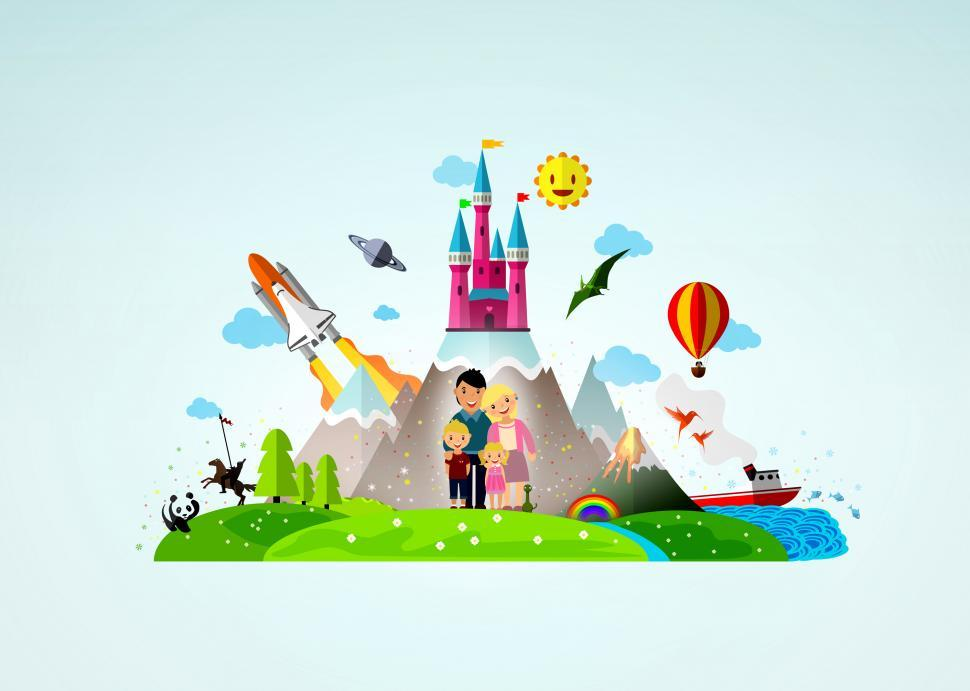 Download Free Stock HD Photo of Happy Family of Four in Fantasy Land Online