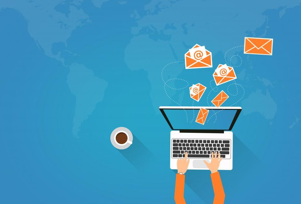 Download Free Stock HD Photo of Email Marketing - Person on Laptop Sending Virtual Envelopes Online