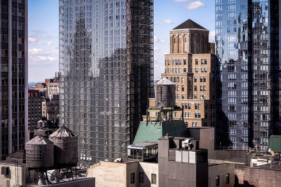 Download Free Stock Photo of Manhattan Water Towers