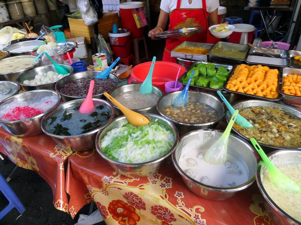 Download Free Stock Photo of Cambodian sweets and desserts at market in Phnom Penh