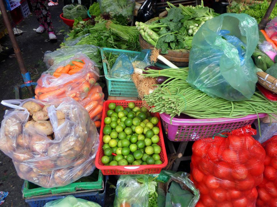 Download Free Stock Photo of Fruit and vegetables market stall