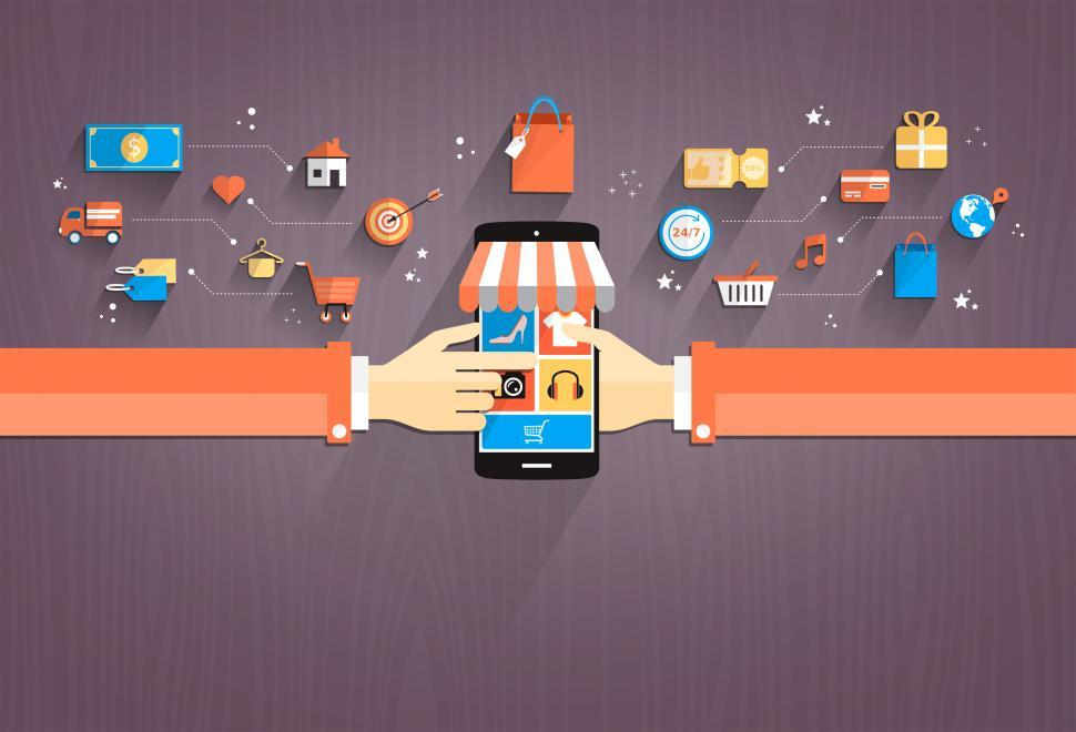 Download Free Stock HD Photo of Online Shopping - Shopping with Smartphone Flat Design Online