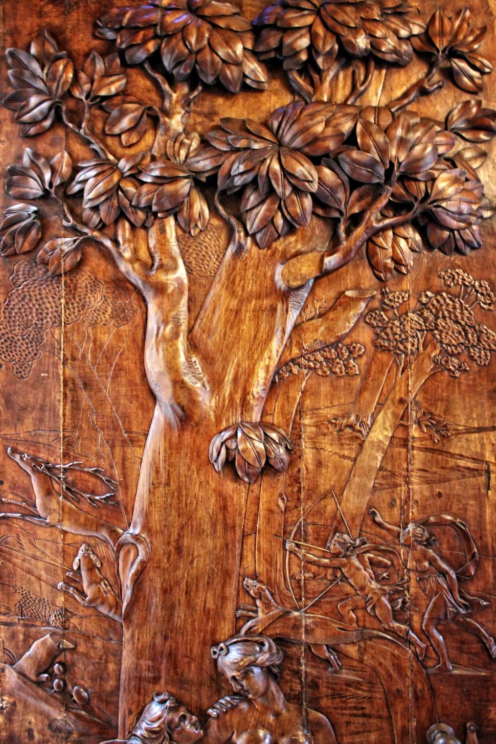 Download Free Stock HD Photo of Antique Carved Wood Door - Hunting Scene Online