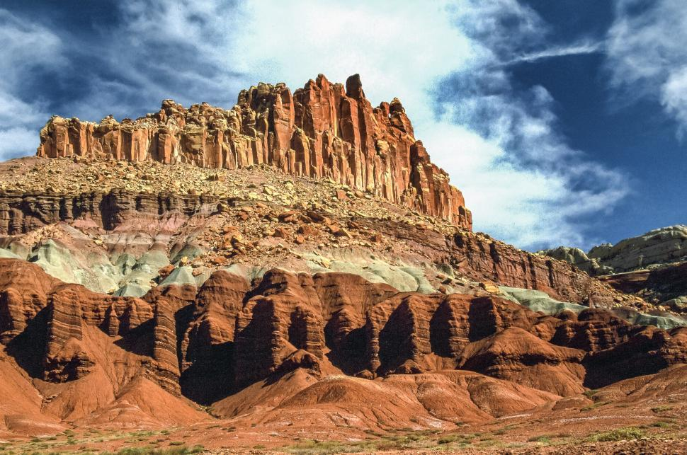 Download Free Stock Photo of Castle formation with sediment levels