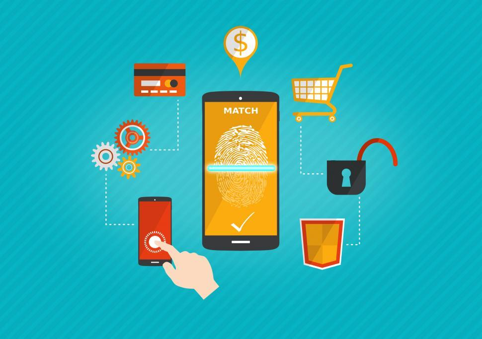 Download Free Stock HD Photo of Mobile Payments with Biometric ID System Online