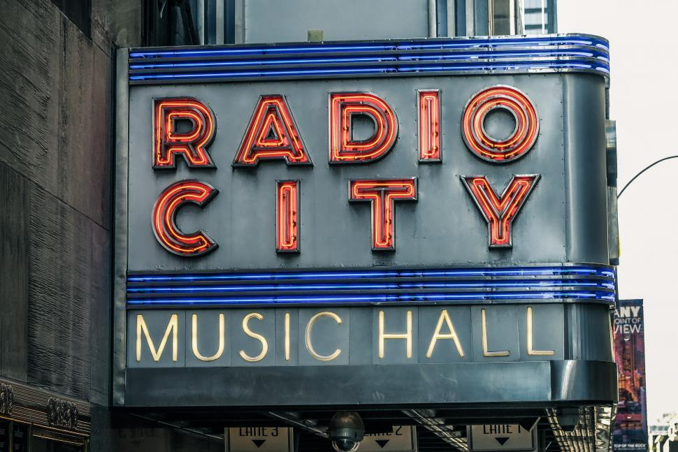 Download Free Stock HD Photo of Neon Sign of Radio City Music Hall Online