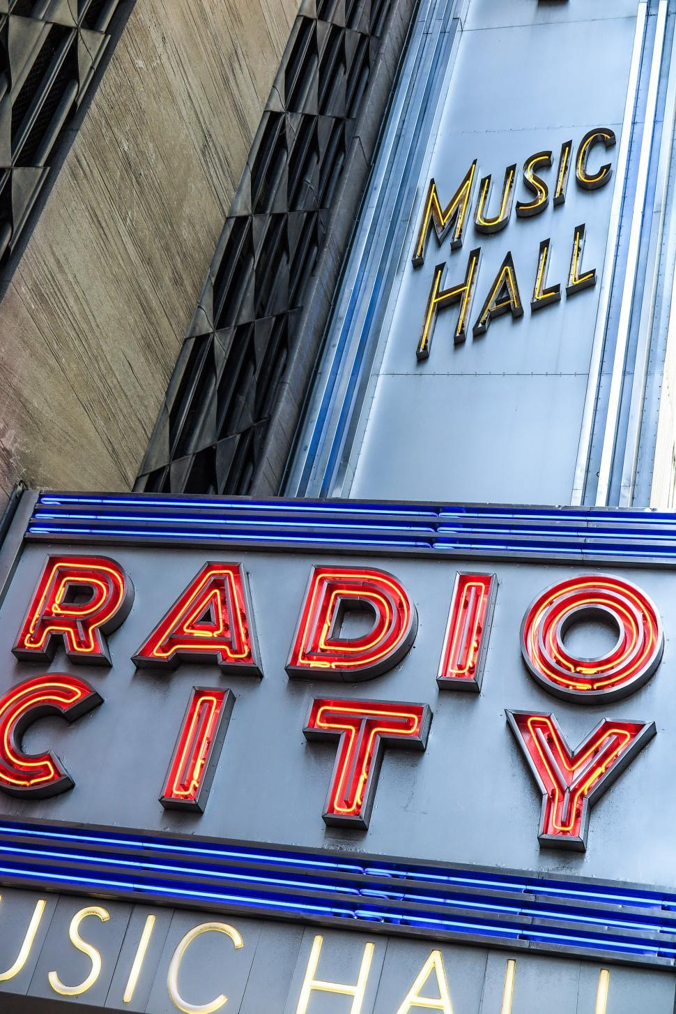 Download Free Stock HD Photo of Angled Radio City Music Hall Neon Sign Online