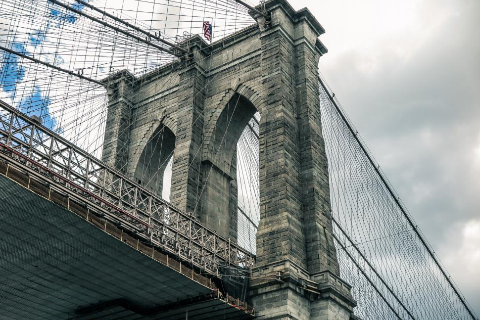 Download Free Stock Photo of Brooklyn Bridge from below