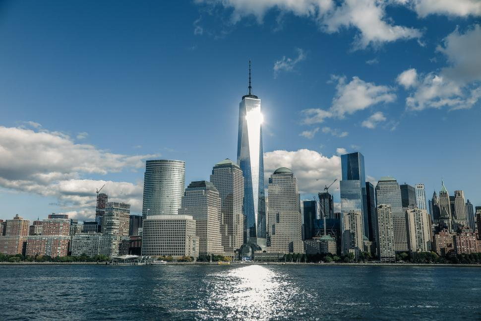 Download Free Stock Photo of Sun glare off the One WTC Tower